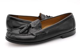 Cole Hann Mens 9D Black Pinch Tassel Leather Loafers Dress Shoes 03506 - $34.99