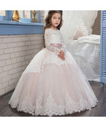 Flower Girl Dresses Long Sleeve Lace Girls Pageant Dress Prom Party Gowns - $95.00