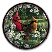 Retro Style Spring Cardinals Birds LED Lighted Backlit Wall Clock Man Ca... - $159.95