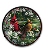 Retro Style Spring Cardinals Birds LED Lighted Backlit Wall Clock Man Ca... - $159.95