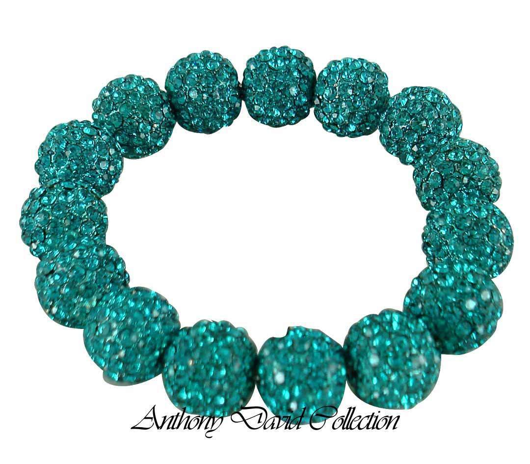 Turquoise Blue Pave Crystal Metal Ball Stretch Bracelet with Swarovski Crystals