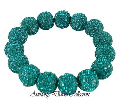 Turquoise Blue Pave Crystal Metal Ball Stretch Bracelet with Swarovski C... - $39.99