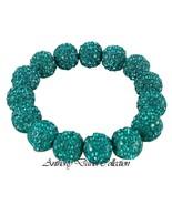Turquoise Blue Pave Crystal Metal Ball Stretch Bracelet with Swarovski C... - $39.99