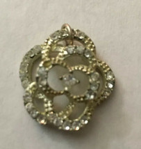 """Vintage Necklace Pendant Silver Flower With Clear Stones 1"""" Diameter - $2.85"""