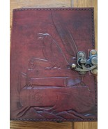 "Leather Journal Book RAVEN  with Latch 5"" x 7"" 240 pages Unlined - $24.19"