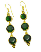 Green Gold Plated Fashion enticing Emerald CZ general Earring UK gift - $10.53