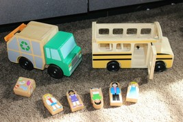 Melissa and Doug Wooden School Bus Garbage truck with Figures - $15.95