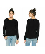 Juicy Couture Black Crew Neck Cashmere Ribbed Trim Sweater - Size Extra ... - $99.95