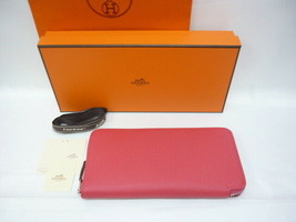100% Auth Hermes Azappurongu wallet zip Epsom A stamped 2017 Rose Extreme - $2,019.97