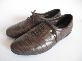 Easy Spirit Brown Faux Snakeskin Leather Oxford Flat Shoes Lace Up Womens 9.5