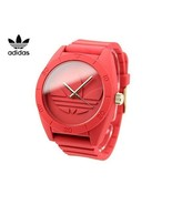 BRAND NEW ADIDAS ORIGINALS ADH2714 SANTIAGO RED LOGO DIAL SILICONE MEN'S WATCH - £33.60 GBP