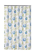 New Waverly REFRESH CAPRI Large Blue Green Ikat Floral Fabric Shower Cur... - $26.99