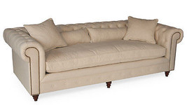 French Country Linen/Cotton Pine Wheat Large Tufted  Sofa,94''W. - $2,721.51