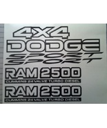Dodge Cummins 24 Valve 2500 Ram Sport 4x4 Replacement Decal Kit - Many Color Cho - $34.95