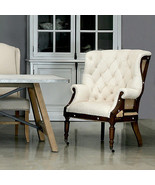 Irish Masculine White Linen Burlap Back Wood Chair,32'' x 44''H. - $1,579.05