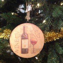 Christmas Ornament Wine Tasting Sullivans Round Metal - $15.79