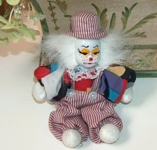 Hobo Clown with Porcelain Face Striped Red Outfit - $12.99