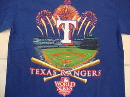 MLB Texas Rangers Baseball Fan 2010 World Series Champions Blue T Shirt S - $17.46