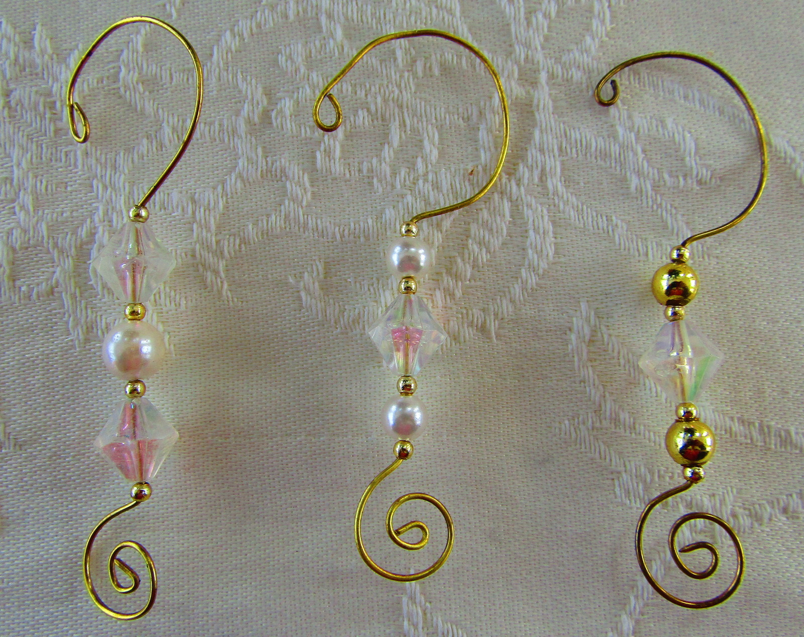 Ornament Hooks, Elegant Irridescent/Gold/Pearl Beads & Swirl Pattern, Set of 12