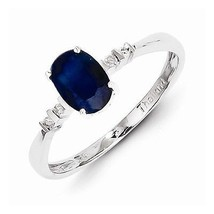 STERLING SILVER GENUINE 1CT  BLUE SAPPHIRE & DIAMOND OVAL RING - SIZE 9 - $105.73