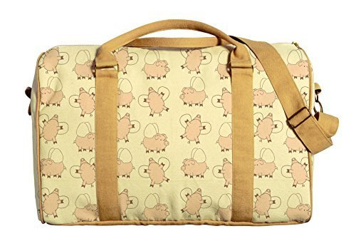 Vietsbay Women Flying Pig Printed Oversized Canvas Duffle Travel Bag