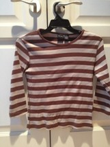 brown and tan striped 100% cotton top by xhilaration size large - $24.99