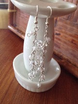 Beaded pierced earrings crystal clear white - $19.99