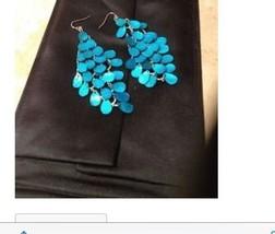 Gorgeous Blue Sequin Dangling Pierced Earrings - $64.99
