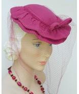 Vtg Hat 1930 40s WWII Ruffled Pink Skull Cap  w/Perfect Net Full Face Ve... - $89.00