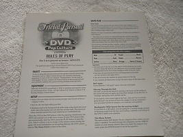 Vintage 2003 TRIVIA PURSUIT DVD POP CULTURE Instructions ONLY - $9.49