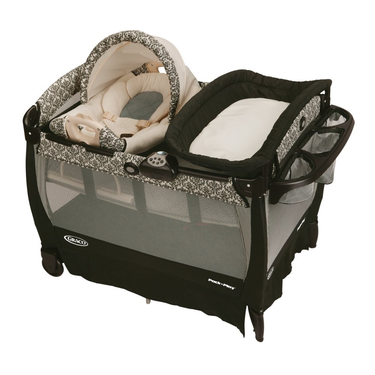 pack n play playard changer napper portable playpen baby graco rocking seat new
