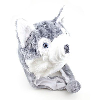 Husky Winter Hat Fluffy Plush Warm Cap Wold Dog Soft Cute Gift Hoodie Beanie 3pk