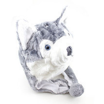 Husky Winter Hat Fluffy Plush Warm Cap Wold Dog Soft Cute Gift Hoodie Be... - $18.68