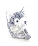 Husky Winter Hat Fluffy Plush Warm Cap Wold Dog Soft Cute Gift Hoodie Be... - $24.34 CAD
