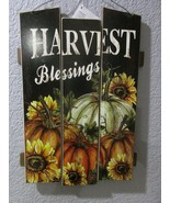 "Fall Thanksgiving HARVEST BLESSINGS Hanging Wall Door Sign Plaque Decor 15"" - $14.99"