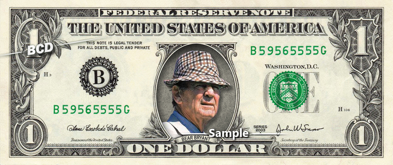 BEAR BRYANT - Real Dollar Bill Cash Money Collectible Memorabilia Celebrity Nove - $8.88