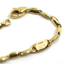 """18K YELLOW GOLD CHAIN NECKLACE ALTERNATE ROUNDED OVAL RICE TUBE LINKS, 45cm 18"""" image 3"""