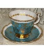Royal Albert Bone China-Fancy Tea Cup & Saucer-Buckingham Series-Turquoise - $38.00