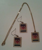 1997 USPS 32 Cent Swan Postage Stamp Earrings and Necklace The March Com... - $25.00