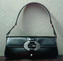 Guess Patent Leather Black Handbag Purse Pocket Book Satchel Baguette SH... - $35.00
