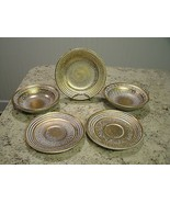 Hard to Find 5 Pc Lot of STANGL Pottery Antique Gold Saucers / Plate / B... - $67.82