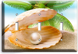 SEE SHELL PEARL PALM BEACH TRIPLE LIGHT SWITCH WALL PLATE COVER HOME ROO... - $17.99