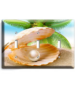 SEE SHELL PEARL PALM BEACH TRIPLE LIGHT SWITCH WALL PLATE COVER HOME ROOM DECOR - $17.99