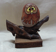 Vintage Hand Painted Art Rock Owl // Whimsical Owl On Branch // Folk Art - $12.00