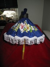 Asian Small Hand Painted Floral Umbrella From Thailand - $10.36