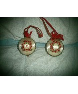 2 Antique Victorian Style Christmas Ornament , Satin with Floral Beaded ... - $10.00