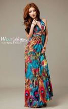 Flowers exotic paint halter bohemia long chiffon dress thumb200