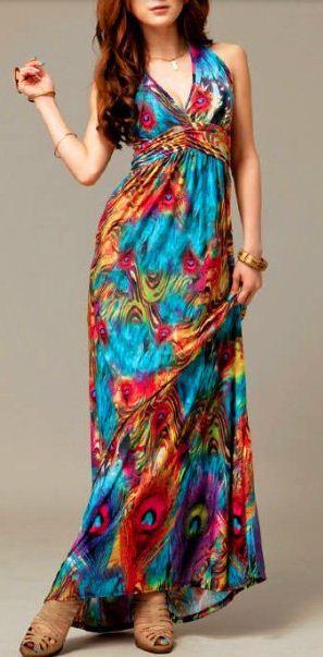 Flowers exotic paint Halter Bohemia long chiffon dress