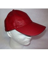Red Leather Cap Adjustable Band Baseball Hat NWOT One Size - $9.85