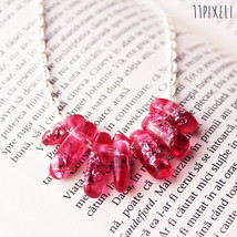 Pink Transparent Resin necklace - Resin beads - Metallic Silver Flakes - Modern  - $24.00